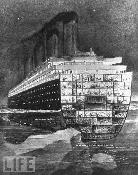 TItanic Cut Away Where the Berg Hit