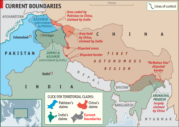 The current boundaries in Kashmir