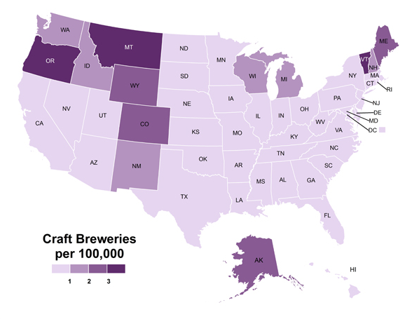Craft Breweries per 100,000