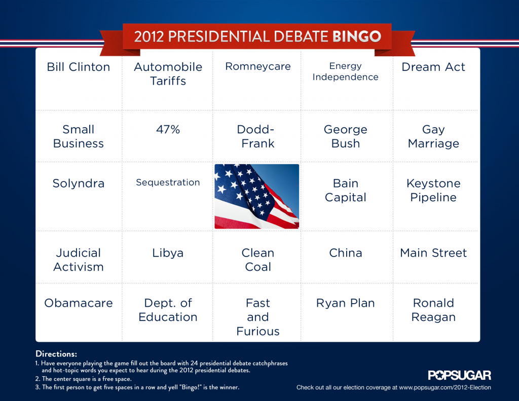 My Debate Bingo Card