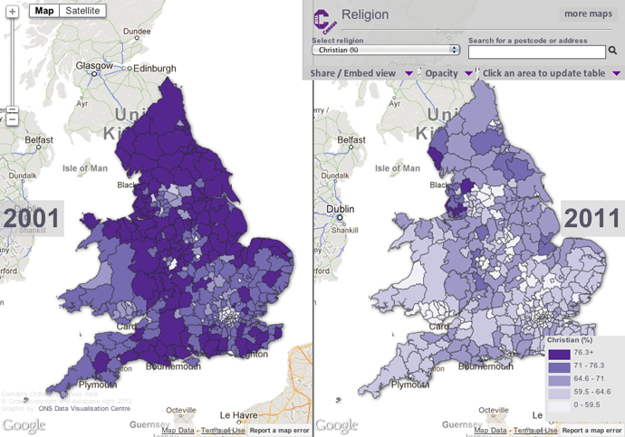 % Christian across England and Wales
