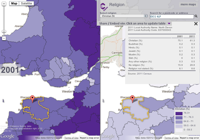 % Christian in North Devon