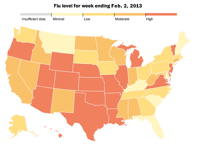 The geographic distribution of the flu