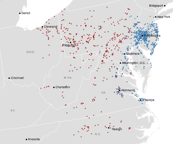 The geographic footprint of Wawa (blue) vs. that of Sheetz (red)