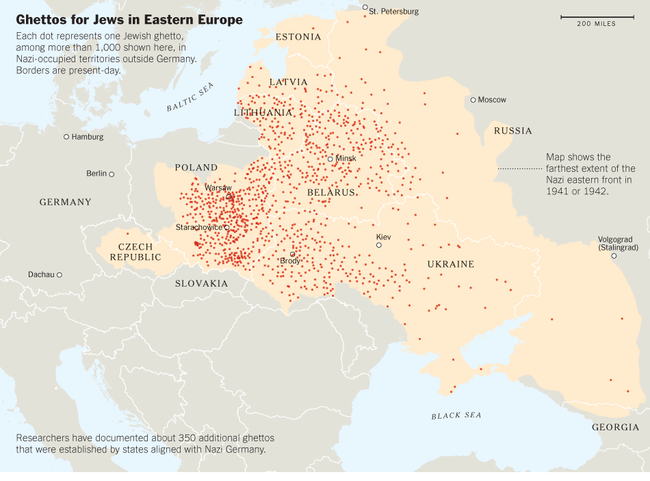Map of ghettos across Eastern Europe