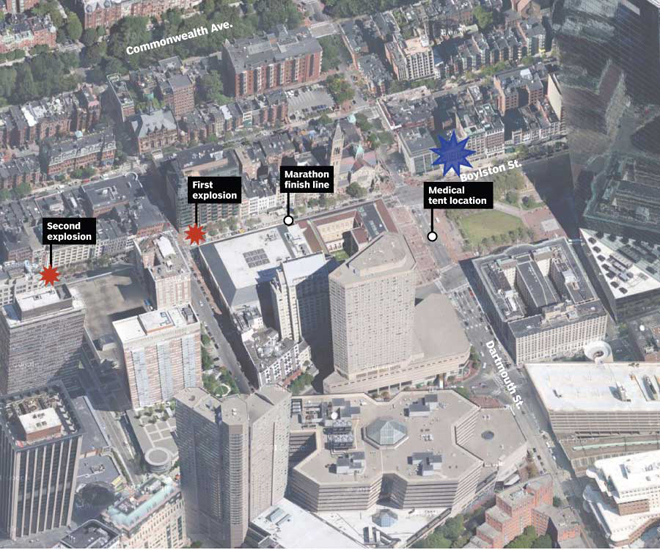 The two bomb sites and the site of (one of) the defused bomb(s).
