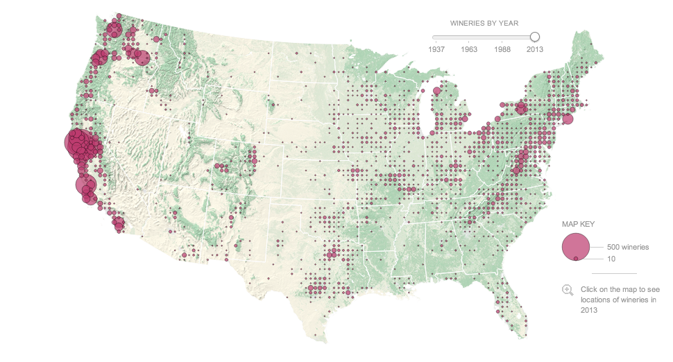 Map of US wineries