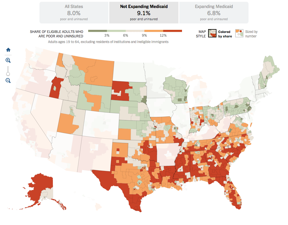 States not expanding Medicaid
