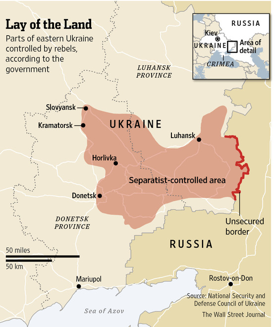 Rebel-held territory in eastern Ukraine