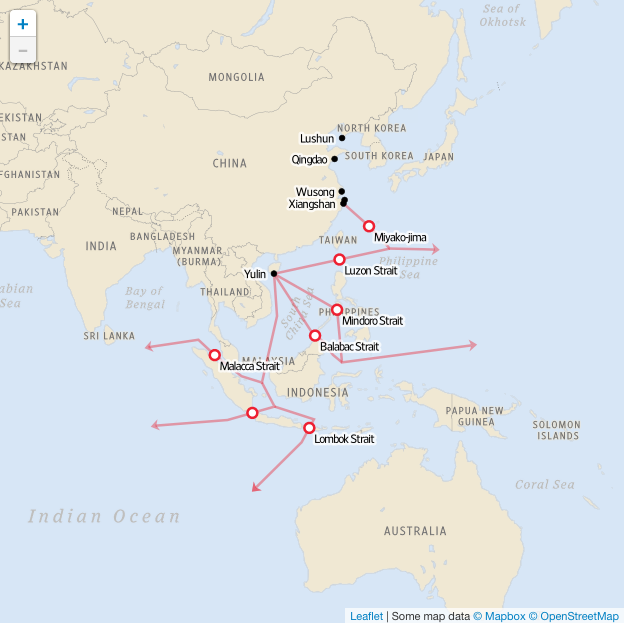 Choke points for the Chinese navy