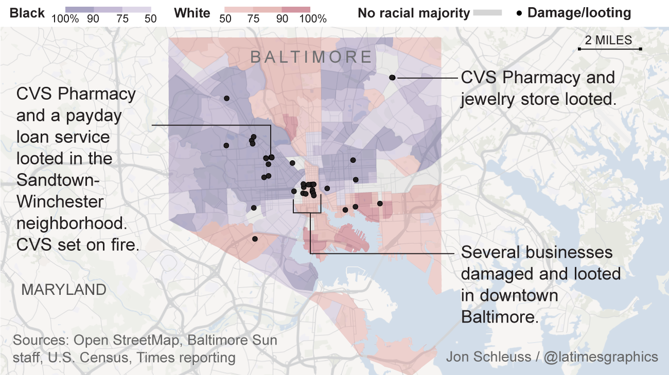 The racial makeup of the neighbourhoods witnessing riots