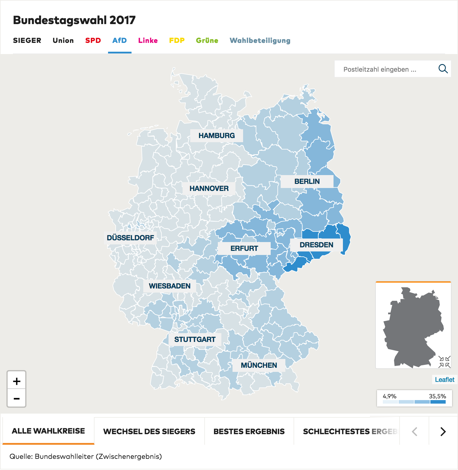 AfD support was strongest in the former East Germany