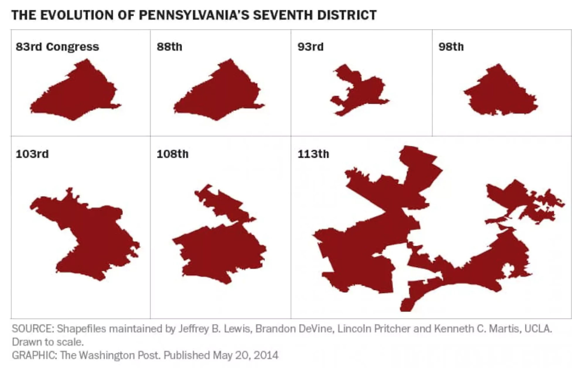 The changing shape of Pennsylvania's 7th Congressional District