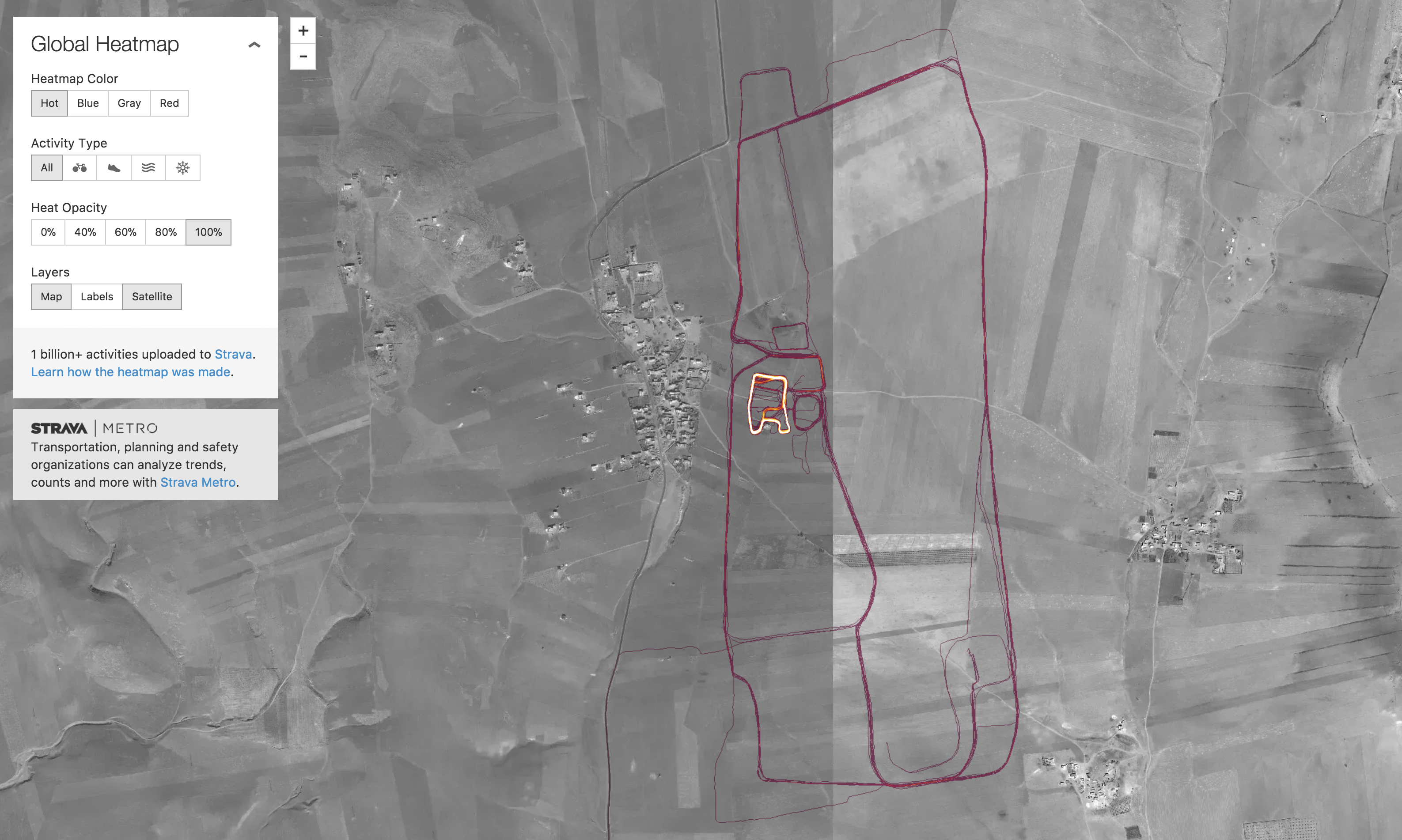 Nothing to see…I just run very straight routes through the middle of Syrian fields…
