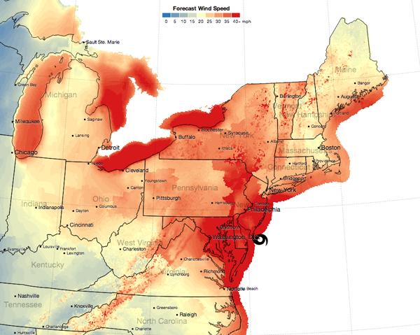 Sandy's Forecast Wind Speeds