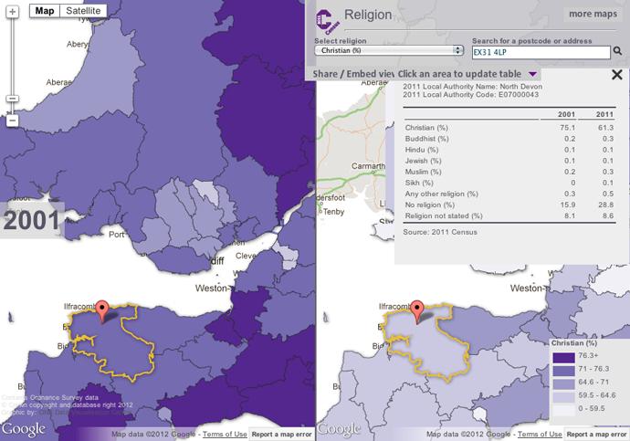 % Christian in North Devon