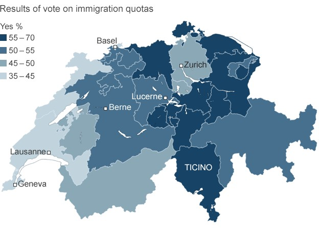 Swiss immigration vote results