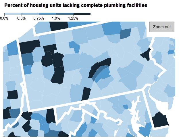 Lack of indoor plumbing in western Pennsylvania