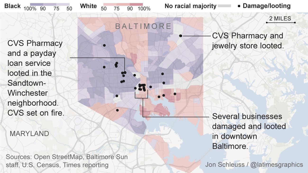 The racial makeup of the neighbourhoods witnessing riots