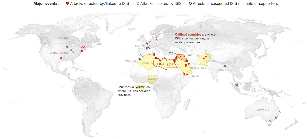 The geographic reach of ISIS at all points over time