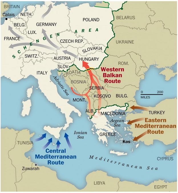 Migration map routes