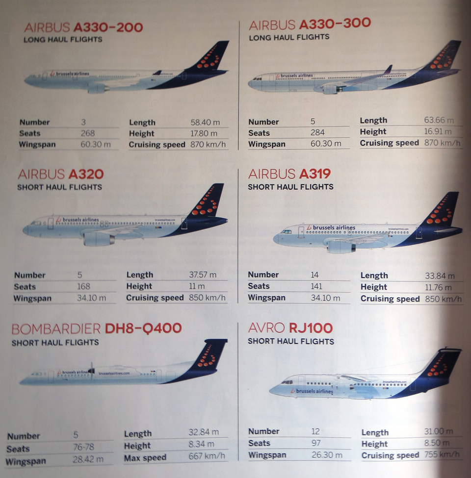 The types of aircraft Brussels Airlines flew at the time