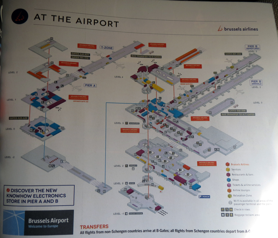 The layout of Brussels Airport