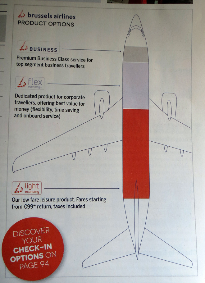 The seating options on Brussels Airlines flights