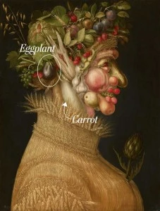 Portrait of a man made in fruit and veggies