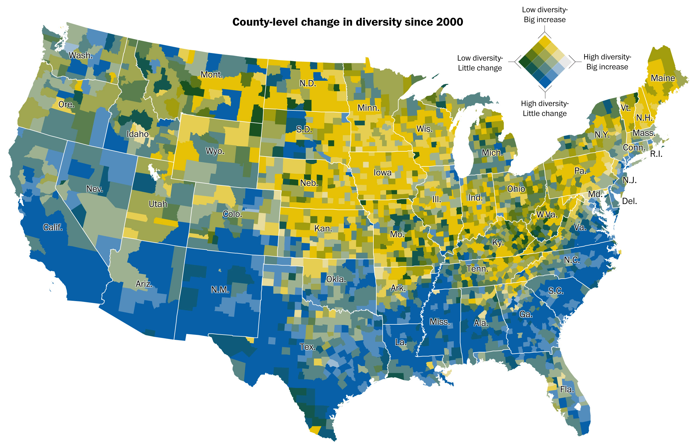 Where America is diverse or not, and how much it's changed