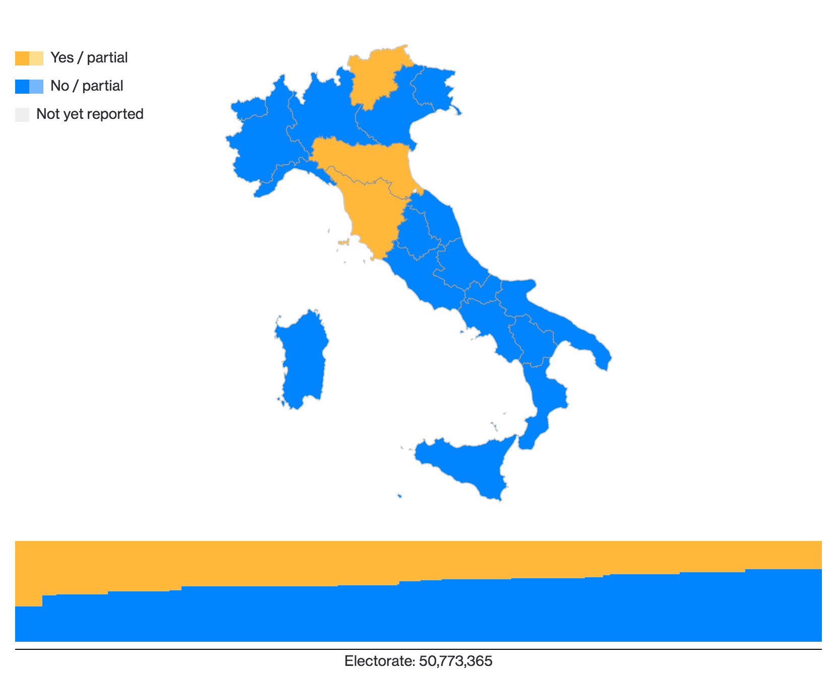 The datasets in the map and bar chart are linked, a nice touch