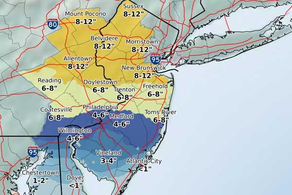 Snowfall in Philadelphia