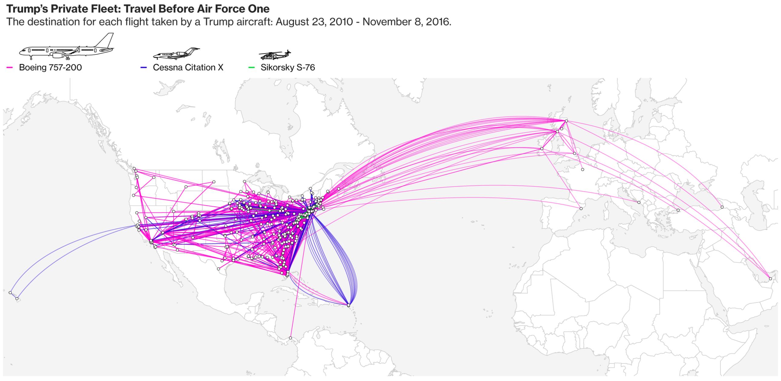 Where Trump's private aircraft flew