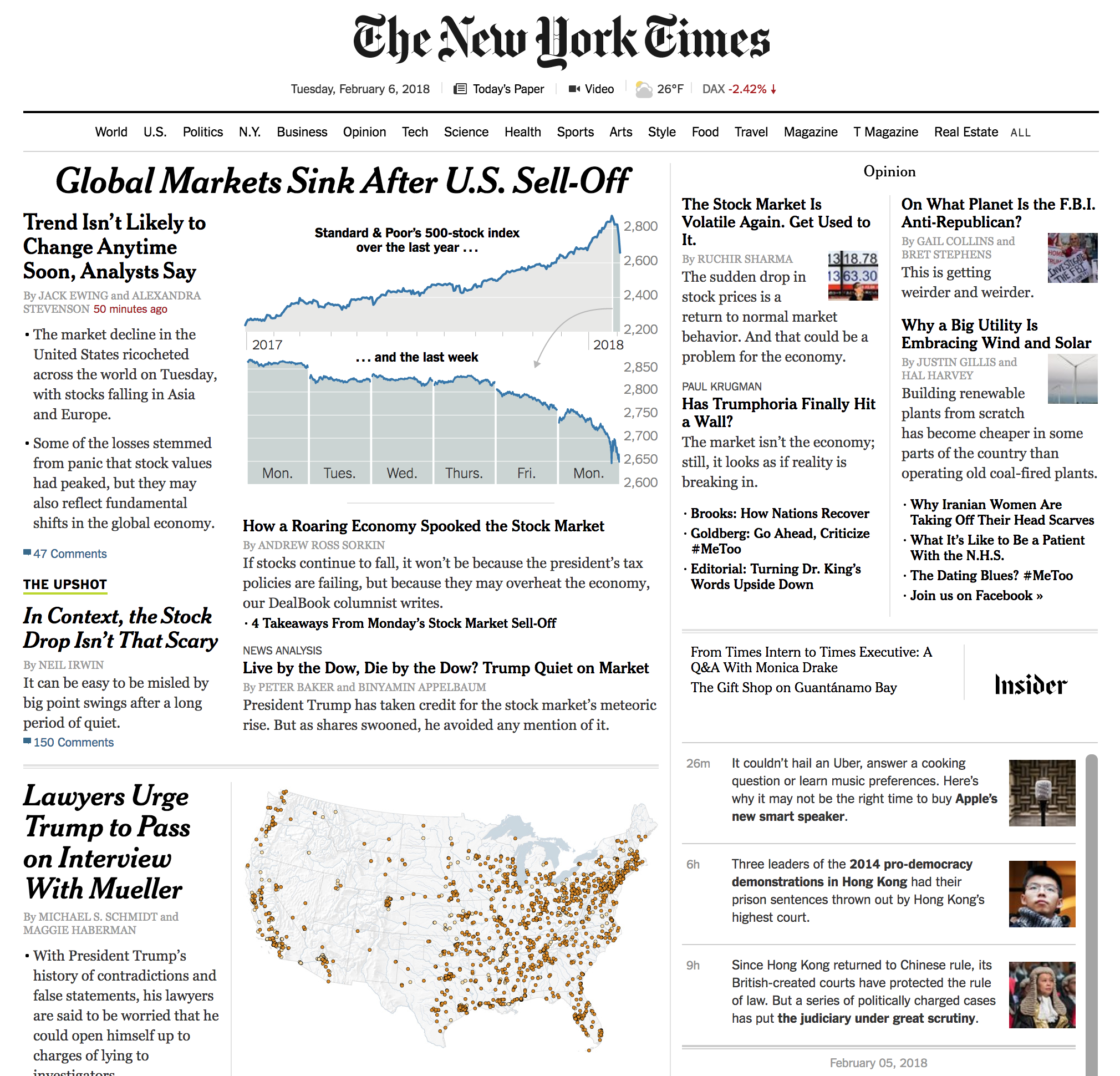 The New York Times homepage this morning