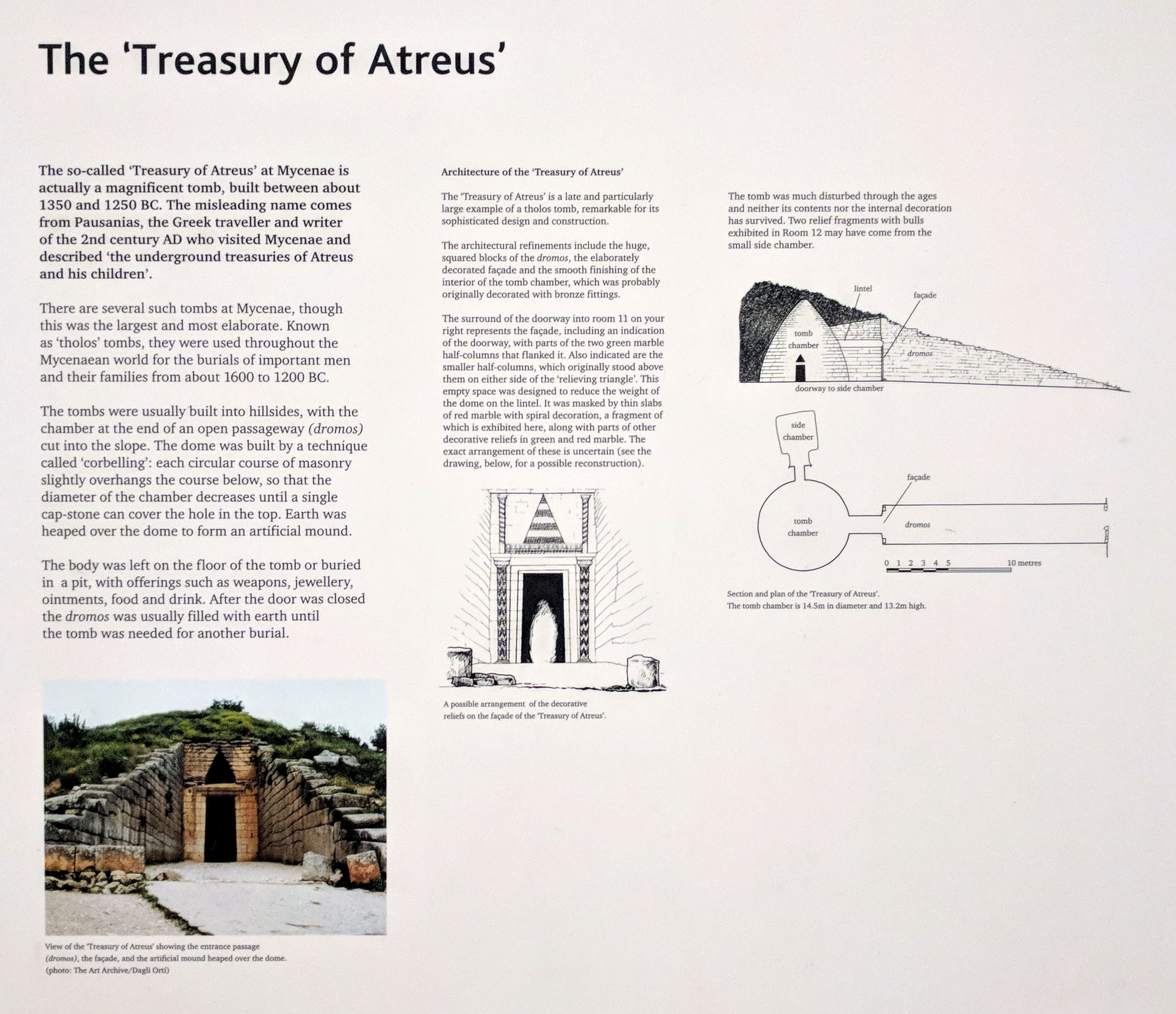The sign explaining the Treasury and the fragments to the right along with the massive columns .