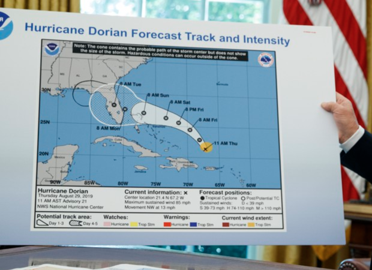 Note the sharpie weirdly extending the cone (in black, not the usual white) into Florida and onward into Alabama.